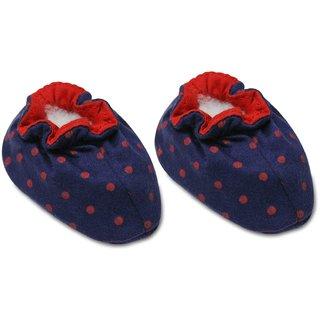 Tumble Polka Dot Print Blue Baby Booties (0-6 Months)