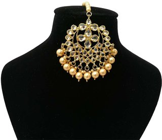 Finekraft Fabulous Designer Meena Kundan Gold Plated Fashionable Maang Tikka Jewelry