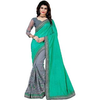 Saiprasad Women's Cotton Silk Net Heavy Work Half Half Saree