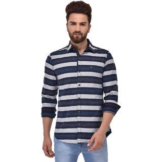 Blue Buddha Men's White and Blue Striped Shirt