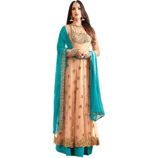 Ffashion Georgette Net Embroidered Salwar Suit Dress Material (SP-25001)