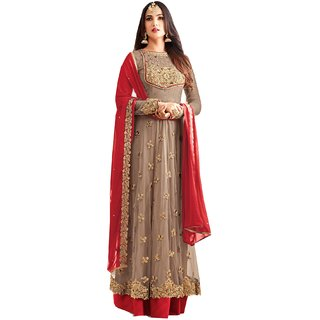 Ffashion brown Georgette Net Embroidered Salwar Suit Dress Material (SP-25002)