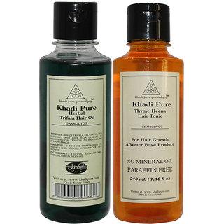Buy Khadi Pure Thyme Henna Hair Tonic And Triphala Hair Oil Combo