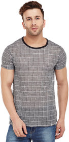 Vimal-Jonney Black Check Print Round Neck Tshirt For Men