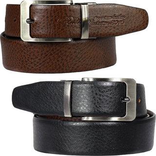 POLLSTAR Formal Belt for Men Genuine Leather for Jeans  Dress Black Brown Reversible (BT102)