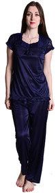 Senslife Satin Solid Nightwear Lace Designed Neck Night Suit Top  Pajama Set SL009