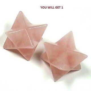NATURAL ROSE Quartz Crystal MERKABA STAR