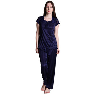 Senslife Satin Solid Nightwear Lace Designed Neck Night Suit Top  Pajama Set SL009