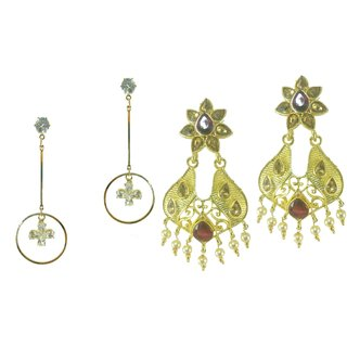 Aarsh Traditional Gold Alloy Jhumki Earrings For Women and girl