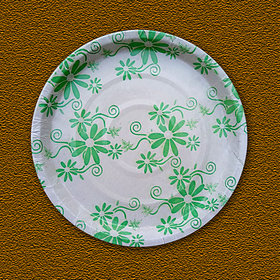 Paper Plate 160 GSM 11Inches Flower Printed White Colour In Craft Board, 20 Pieces Per Packet