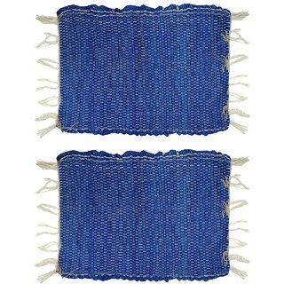 Home Berry Cotton chindi mat Sky Blue 12 x  18 Set of 2