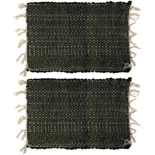 Home Berry Cotton chindi mat Black 12 x  18 2 pcs
