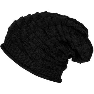 BEZAL Cool Look Stylish Black Slouchy Woolen Stretchable Cap