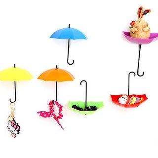 XTR New Style Umbrella Plastic Key Holder  (3 Hooks, Multicolor)