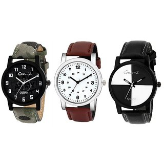Gen Z GENZ-CO-ARM-CLA-CHE-0001 combo of 3 Army Classic and Chess watches