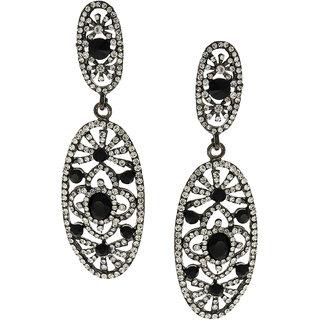 Anuradha Art Black Finish Studded White Colour Shimmering Stone Party Wear Fancy Long Earrings For Women/Girls