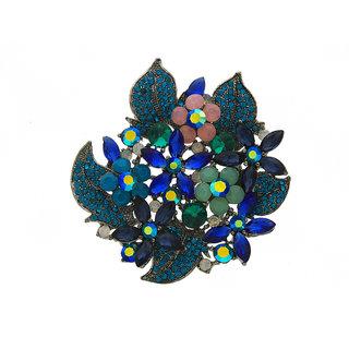 Anuradha Art Blue Colour Studded Shimmering Sparkling Stone Beautiful Wedding Brooch/Sari Pins For Men/Women