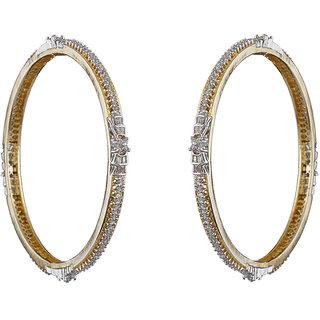 Anuradha Art Golden Finish Classy Studded American Diamonds Stone Wonderful Bangles Set For Women/Girls