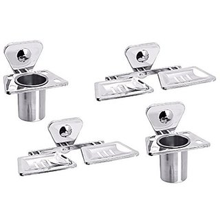 Aiken Stainless Steel Tumbler Holder And Double Soap Dish Bathroom Accessories Set of 4 Piece