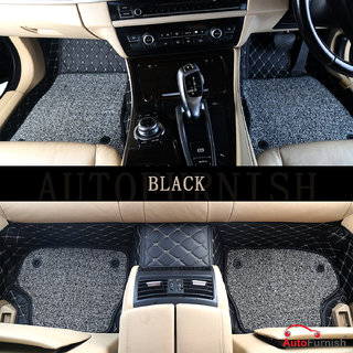 Autofurnish 7D Luxury Custom Fitted Car Mats For Nissan Micra - Black