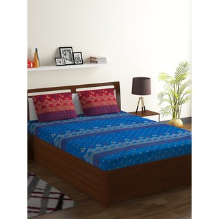 Bombay Dyeing Blue 100% Cotton Double Axia Bed Sheet