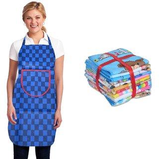 KD Sales Set Of 1 Blue Non Woven Apron + 2 Face Towel