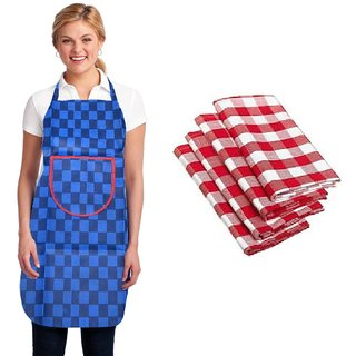KD Sales Set of 1 Blue Apron +  2 Kitchen Napkin
