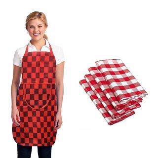 KD Sales Set of 1 Red Apron + 2 Kitchen Napkin