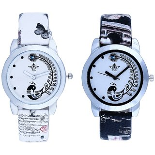 Black Peackock With White Peackock Fether Art Design Exclusive SCK Wrist Watch For Women Girl