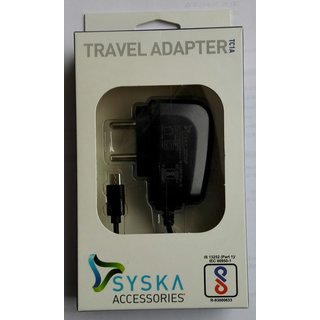 Universal Micro USB Travel Adapter Charger For Android Mobile Phone By Syska ( Black Color )
