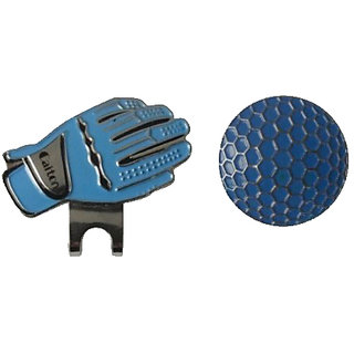 Futaba Gloves Shape Golf Hat Visor Clip With Magnetic Golf Ball Marker - Blue