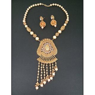 JewelMaze AD Stone Pearl Copper Necklace Set-FAP0184