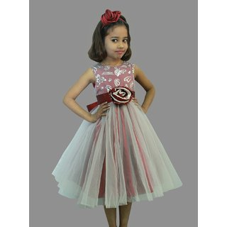 Queens island Red Printed sequin Body Bling with Silver Party Dress with Flower Baby Girls Sleeveless Frocks