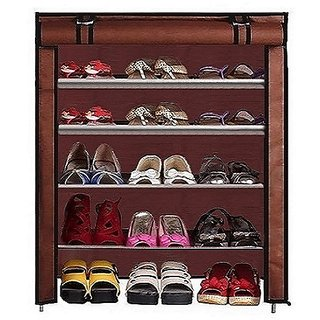 4Layer shoe rack with brown cover