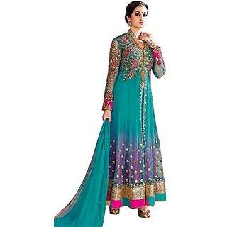 Embroidered Light Blue Net Anarkali suit