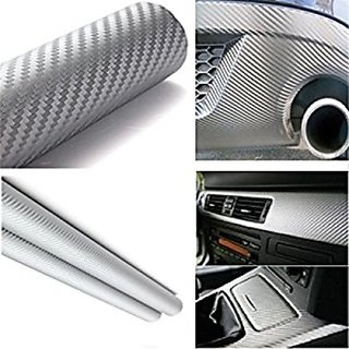24x24 3D Silver Carbon Fiber Vinyl Car Wrap Sheet Roll Film Sticker Decal