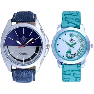 Stylish Smile Dial And Green Peacock Couple Casual SCK Analogue Wrist Watch By Gujrat Hub