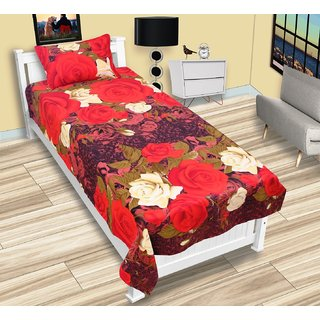Panipat Direct Single Bed Sheet With 1 Pillow Cover(PDSBP07)