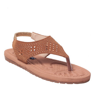 Msc Women Synthetic Tan Sandal