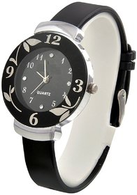 Round Dial Black Pu Analog Watch For Women
