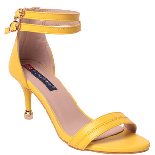 Msc Women Synthetic yellow Heels