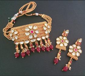 JewelMaze AD Stone Maroon Beads Choker Copper Necklace Set-FBB0054B