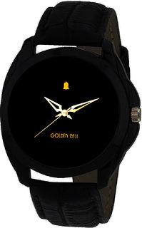 Golden Bell Round Dail Black Synthetic StrapMens Quartz Watch For Men