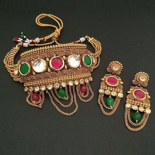 JewelMaze AD Stone Choker Copper Necklace Set-FBB0048A