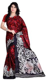 SVB Saree Red Colour Animal Printed Taffeta Saree Without Blouse Piece