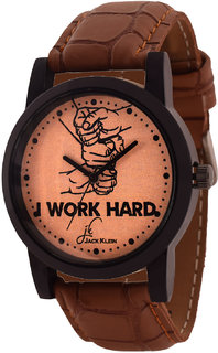 Jack Klein Stylish  Elegant Round Dial Brown Strap Analogue Wrist Watch