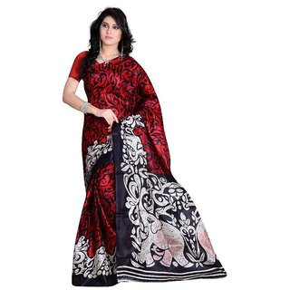 SVB Saree Red Colour Animal Printed Taffeta Saree Without Blouse Piece