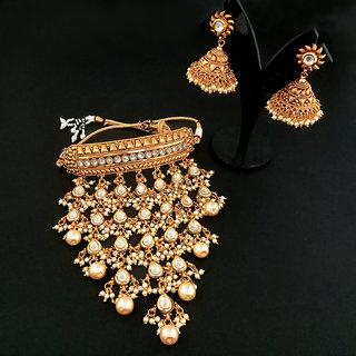 JewelMaze AD Stone Choker Copper Necklace Set-FBB0015E