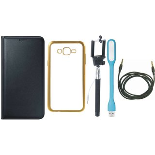 Leather Finish Flip Cover for Coolpad Note 3 Lite with Free Silicon Back Cover, free Selfie Stick, free USB LED Light and Free AUX Cable