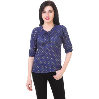 Fine Blue Printed Boat Neck Crop Tops  For Women